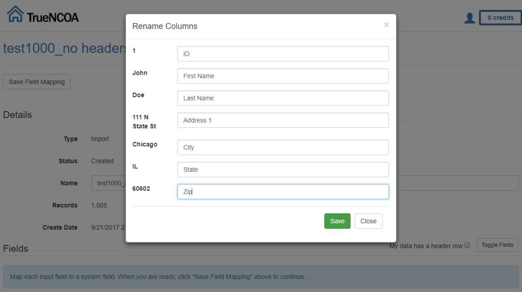 specify header labels