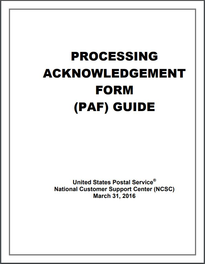Processing Acknowledgement Form (PAF) Guide