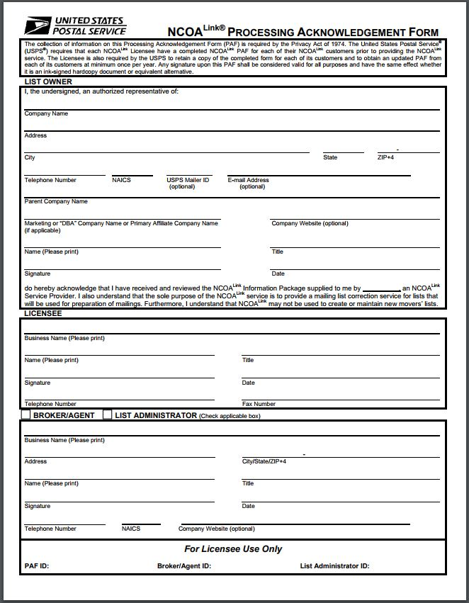NCOALink Processing Acknowledgement Form (PAF)