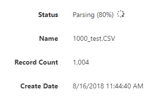 parsing progress displays as a percentage