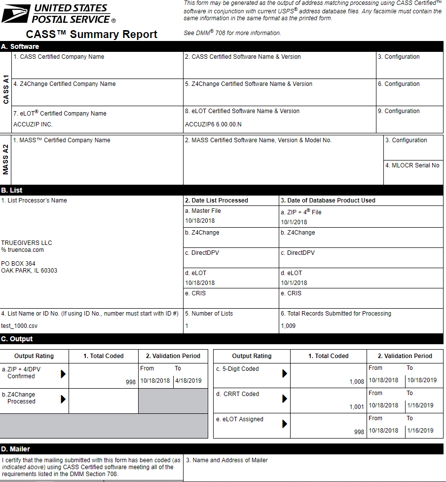 Sample CASS Report