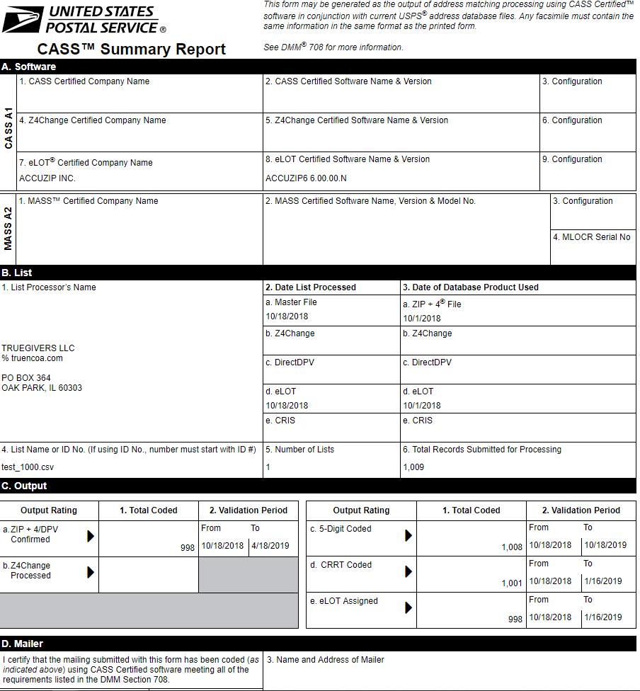 Sample CASS Report